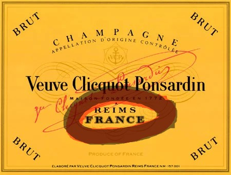 A champagne label showing the name of the town where the champagne is produced.